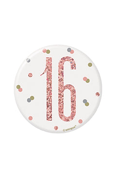 1 Glitz Rose Gold Birthday Badge 16