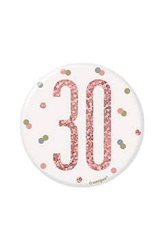1 Glitz Rose Gold Birthday Badge 30