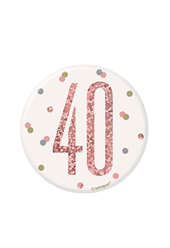 1 Glitz Rose Gold Birthday Badge 40