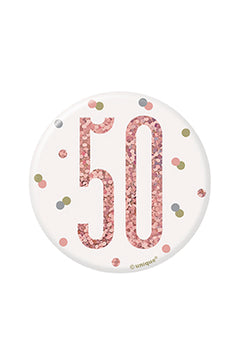 1 Glitz Rose Gold Birthday Badge 50