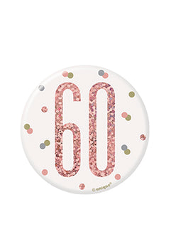 1 Glitz Rose Gold Birthday Badge 60
