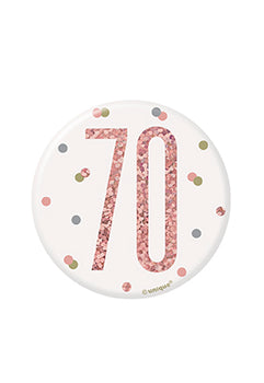1 Glitz Rose Gold Birthday Badge 70