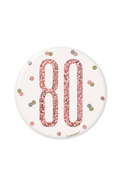 1 Glitz Rose Gold Birthday Badge 80