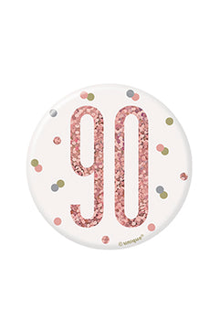 1 Glitz Rose Gold Birthday Badge 90