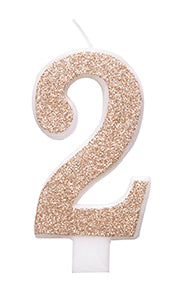 Birthday Rose Gold Glitz Glitter Number 2 Birthday Candle