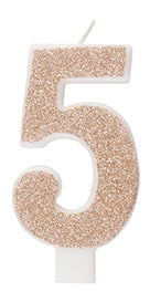 Birthday Rose Gold Glitz Glitter Number 5 Birthday Candle