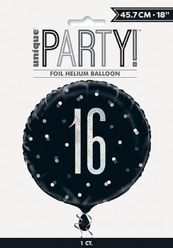 "18"" Glitz Black & Silver Round Foil Balloon Packaged 16"