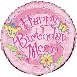 "Floral Birthday Mom Round Foil Balloon 18"", Packaged"