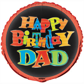 "Bold Birthday Dad Round Foil Balloon 18"", Packaged"