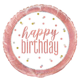 "18"" Glitz Rose Gold Round Foil Balloon Packaged ""Happy Birthday"""