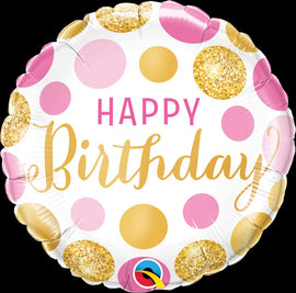 Foil Balloon - Birthday Pink/Gold Dots