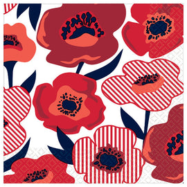 Red Poppy Luncheon Napkins