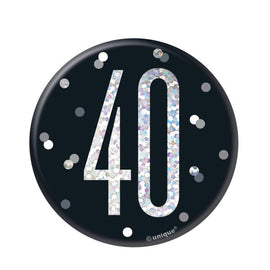 1 Glitz Black & Silver Birthday Badge 40