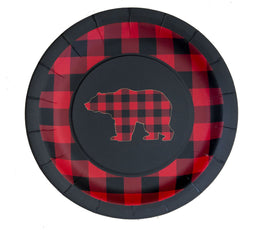 "9"" Plate - Buffalo Plaid Bear"