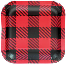 "9"" Plate - Sqr Buffalo Plaid"