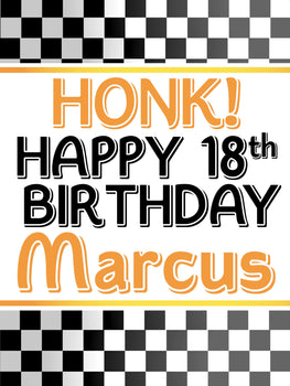 Customizable Yard Sign / Lawn Sign Birthday Race Checkered Flag