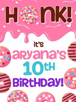 Customizable Yard Sign / Lawn Sign Birthday Donut Pink