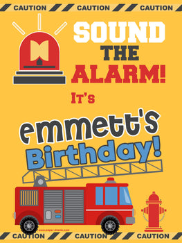 Customizable Yard Sign / Lawn Sign Birthday Firetruck