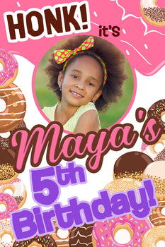 Customizable Yard Sign / Lawn Sign Birthday Donut W/Picture