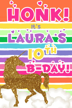 Customizable Yard Sign / Lawn Sign Birthday Glitter Unicorn