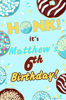 Customizable Yard Sign / Lawn Sign  Birthday Donut Blue