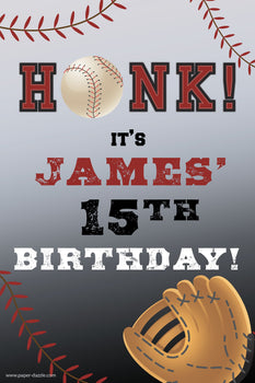 Customizable Yard Sign / Lawn Sign Birthday Baseball