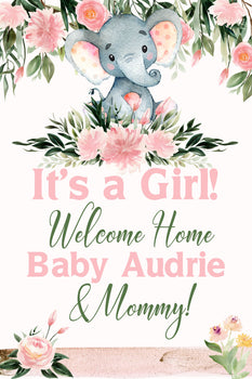 Customizable Yard Sign / Lawn Sign Baby Shower Elephant Pink