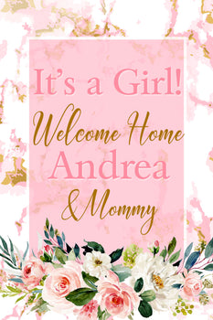 Customizable Yard Sign / Lawn Sign Baby Shower Watercolor Pink
