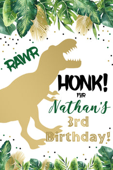 Customizable Yard Sign / Lawn Sign Birthday Dinosaur Silhouette