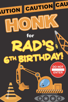 Customizable Yard Sign / Lawn Sign Birthday Construction