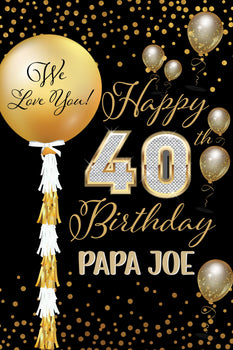 Customizable Yard Sign / Lawn Sign Birthday Sparkling Celebration 40