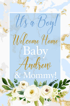 Customizable Yard Sign / Lawn Sign Baby Shower Watercolor Blue