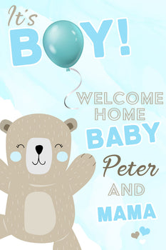 Customizable Yard Sign / Lawn Sign Baby Shower Teddy Bear Blue
