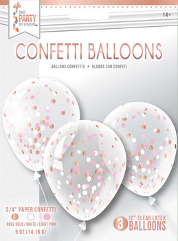 Balloon - Confetti 3Ct Rose Gold Mix