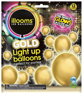 Solid Gold Light Up Balloons, 12ct