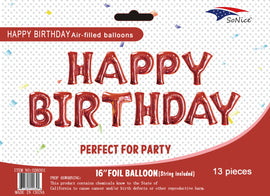 Mini Foil Balloon Banner Kit Happy Birthday Red