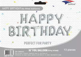 Mini Foil Balloon Banner Kit Happy Birthday Silver