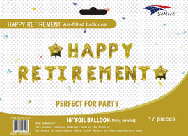 Mini Foil Balloon Banner Kit Happy Retirement Gold
