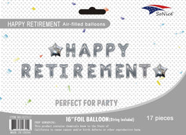 Mini Foil Balloon Banner Kit Happy Retirement Silver