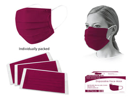MASK - PPE 50CT DISP BURGUNDY WRAPPED