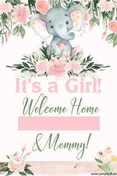 Yard Sign - Generic Baby Shower Elephant Pink