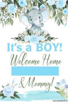 Yard Sign - Generic Baby Shower Elephant Blue