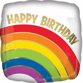 Foil Balloon - Gold Rainbow Birthday