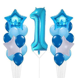 Helium-Filled Balloon Arrangement - Jumbo Number with Two Side Columns