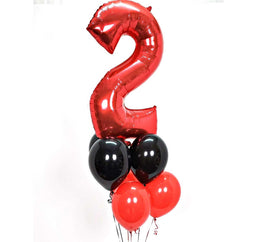 Jumbo Number Helium Balloon Bouquet with 1 Number and 6 Latex Balloons