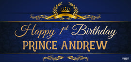 Banner - Custom Deluxe Birthday Blue & Gold Crown