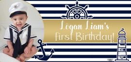 Banner - Custom Deluxe Birthday Gold & Blue Sailor With Picture