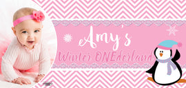 Banner - Custom Deluxe Birthday Pink & Penguin With Picture
