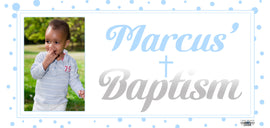 Banner - Custom Deluxe Religious Blue Dots & Silver With Picture