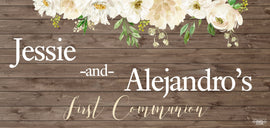 Banner - Custom Deluxe Religious White Flowers & Wood
